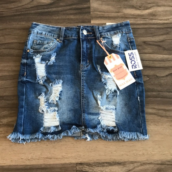ba2a368682 Wax Jean Skirts | Ripped Jeans Skirt From Ross | Poshmark